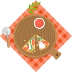 Vector Pizza Graphics Maker - Pizza with tomato sauce