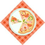 Pizza Time - Pizza in plate on tablecloth