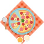 Vector Pizza Graphics Maker - Pizza in plate with toppings