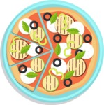 Vector Pizza Graphics Maker - Whole pizza with grilled cheese