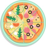 Vector Pizza Graphics Maker - Assorted pizza in plate