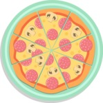 Vector Pizza Graphics Maker - Whole pizza in plate