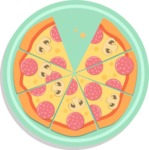 Vector Pizza Graphics Maker - Pizza with seven slices