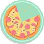 Vector Pizza Graphics Maker - Pizza with six slices