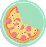 Vector Pizza Graphics Maker - Pizza with five slices