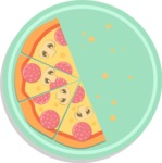 Vector Pizza Graphics Maker - Pizza with four slices