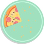 Vector Pizza Graphics Maker - Two pizza slices in plate