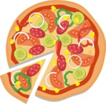 Vector Pizza Graphics Maker - Spicy pizza with vegetables and Pepperoni