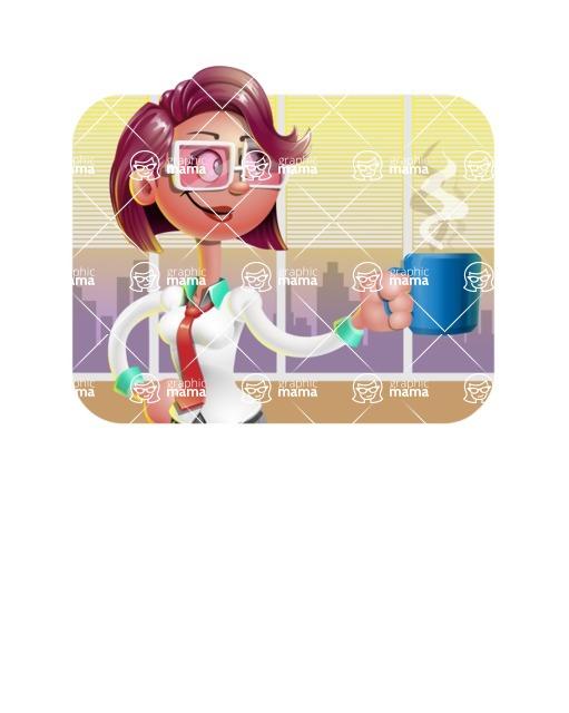 Business Girl 3D Vector Cartoon Character - Shape 2