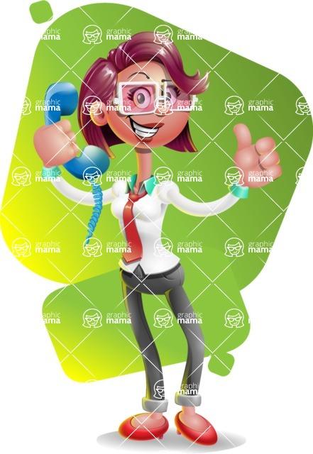 Business Girl 3D Vector Cartoon Character - Shape 7