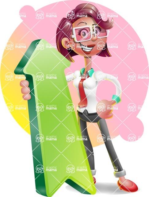 Business Girl 3D Vector Cartoon Character - Shape 8