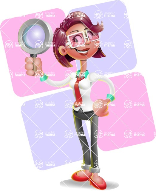 Business Girl 3D Vector Cartoon Character - Shape 12