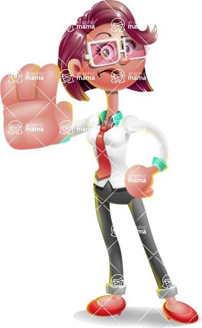 Business Girl 3D Vector Cartoon Character - Stop 2