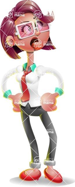 Business Girl 3D Vector Cartoon Character AKA Stephanie - Making Face