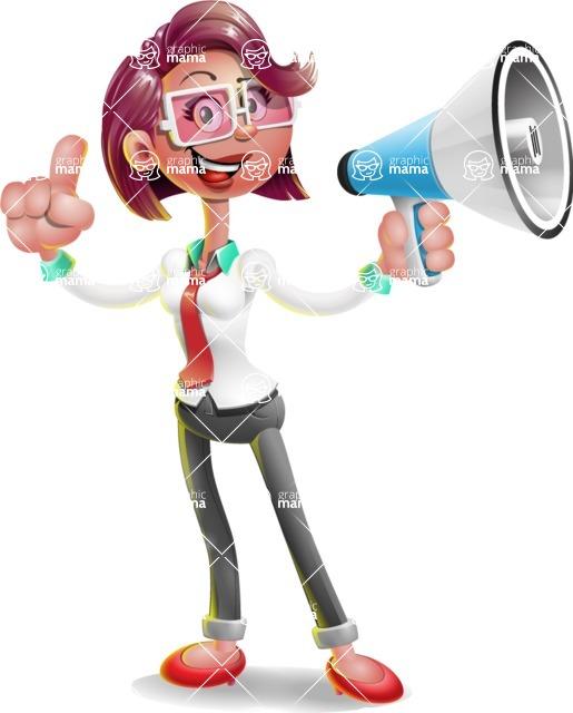 Business Girl 3D Vector Cartoon Character AKA Stephanie - Loudspeaker