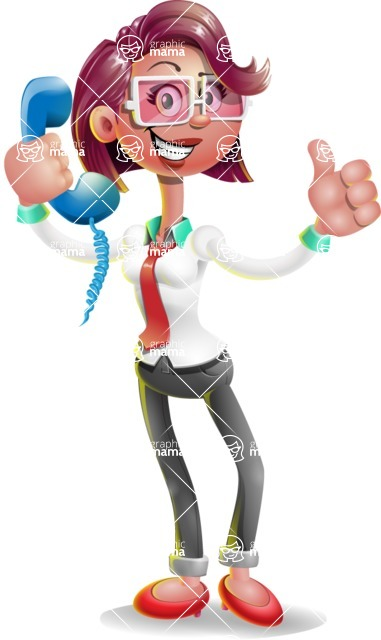Business Girl 3D Vector Cartoon Character AKA Stephanie - Support