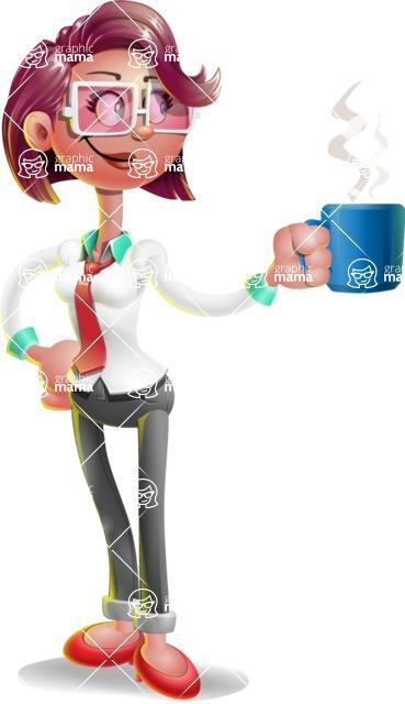 Business Girl 3D Vector Cartoon Character - Coffee