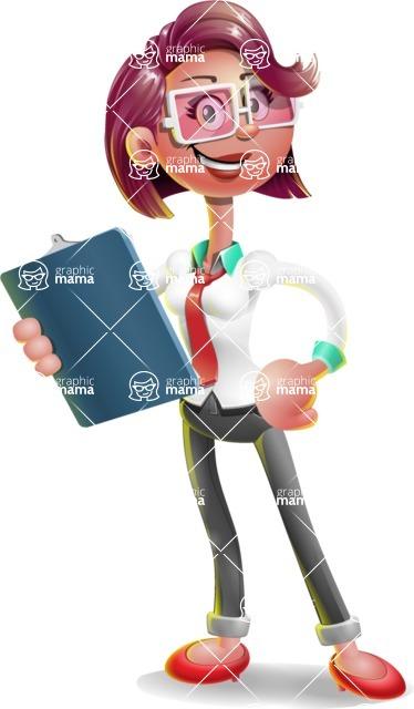 Business Girl 3D Vector Cartoon Character AKA Stephanie - Notepad 2