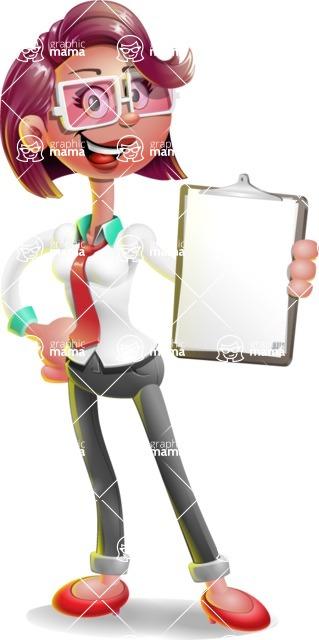 Business Girl 3D Vector Cartoon Character AKA Stephanie - Notepad 4