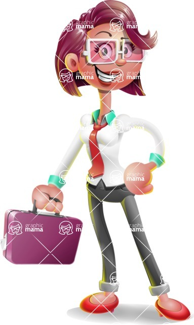 Business Girl 3D Vector Cartoon Character - Briefcase 1