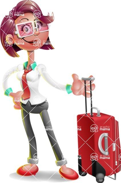 Business Girl 3D Vector Cartoon Character AKA Stephanie - Travel 1