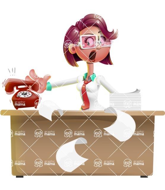 Business Girl 3D Vector Cartoon Character AKA Stephanie - Office fever