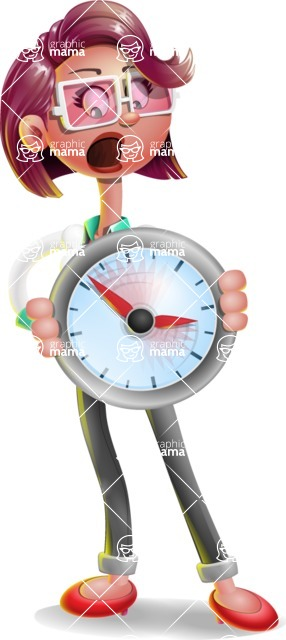 Business Girl 3D Vector Cartoon Character - Time is Yours