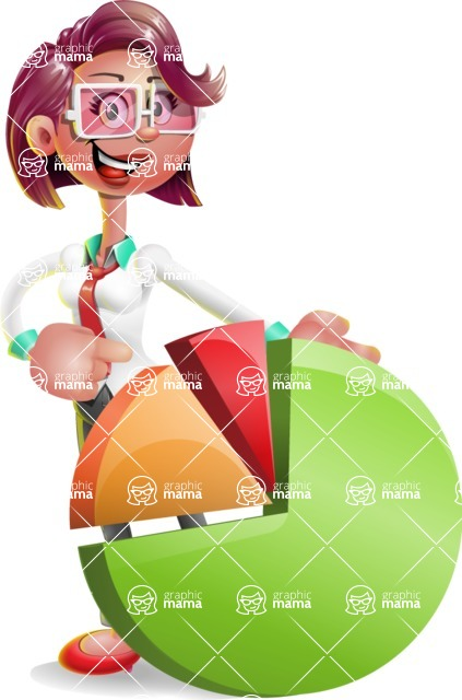 Business Girl 3D Vector Cartoon Character AKA Stephanie - Chart