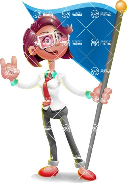 Business Girl 3D Vector Cartoon Character - Checkpoint