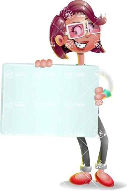 Business Girl 3D Vector Cartoon Character AKA Stephanie - Sign 4