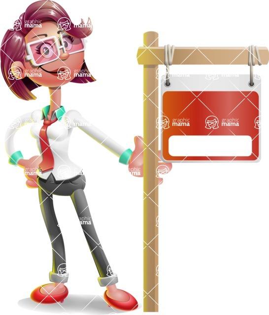 Business Girl 3D Vector Cartoon Character AKA Stephanie - Sign 9