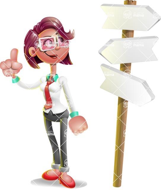 Business Girl 3D Vector Cartoon Character AKA Stephanie - Crossroad