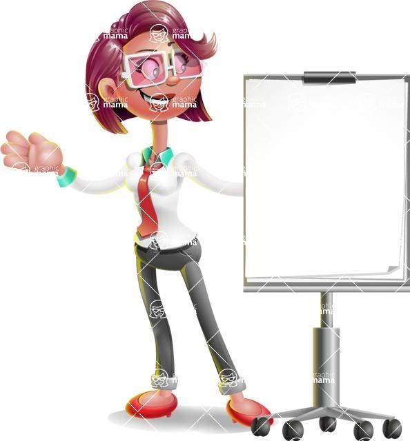 Business Girl 3D Vector Cartoon Character AKA Stephanie - Presentation 1