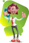 Business Girl 3D Vector Cartoon Character - Shape 7