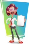 Business Girl 3D Vector Cartoon Character - Shape 11