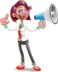 Business Girl 3D Vector Cartoon Character - Loudspeaker