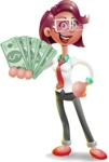 Business Girl 3D Vector Cartoon Character - Show me  the Money