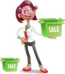 Business Girl 3D Vector Cartoon Character - Sale