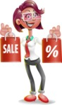 Business Girl 3D Vector Cartoon Character - Sale 2