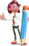 Business Girl 3D Vector Cartoon Character - Pencil
