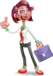 Business Girl 3D Vector Cartoon Character - Briefcase 2