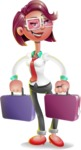 Business Girl 3D Vector Cartoon Character - Briefcase 3