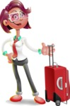 Business Girl 3D Vector Cartoon Character - Travel 1