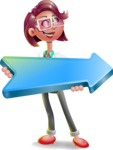 Business Girl 3D Vector Cartoon Character - Pointer 2