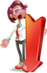 Business Girl 3D Vector Cartoon Character - Pointer 3