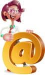 Business Girl 3D Vector Cartoon Character - Email