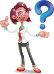 Business Girl 3D Vector Cartoon Character - Question