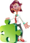 Business Girl 3D Vector Cartoon Character - Puzzle