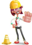 Business Girl 3D Vector Cartoon Character - Under Construction 1