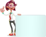Business Girl 3D Vector Cartoon Character - Sign 7